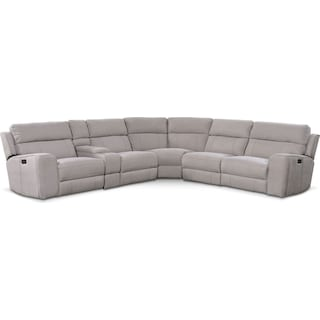 Newport 6-Piece Power Reclining Sectional with 2 Reclining Seats - Light Gray