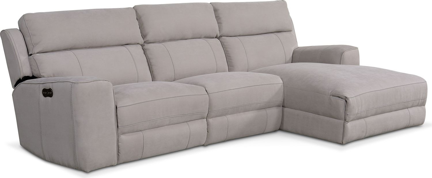 Living Room Furniture   Newport 3 Piece Power Reclining Sectional With  Chaise
