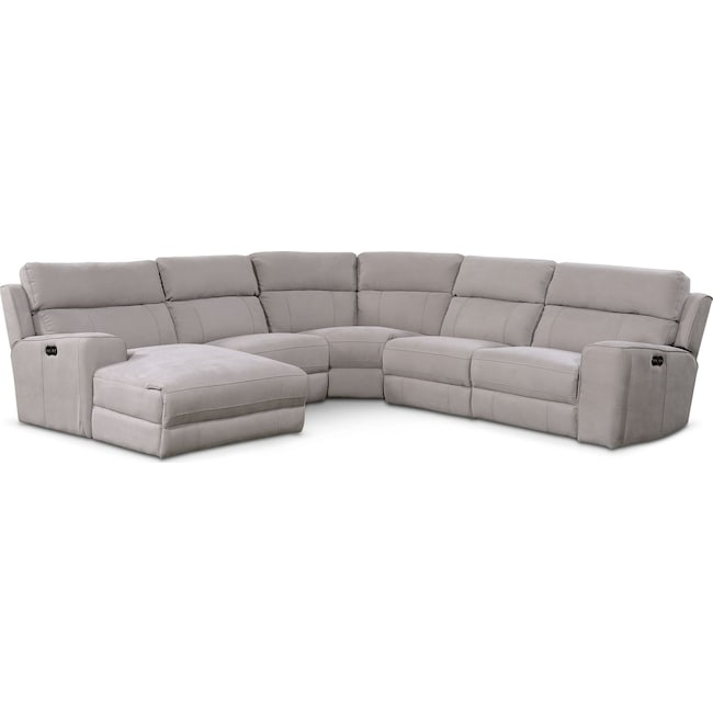 Power Reclining Sectional With Right Press Back Chaise By: Newport 5-Piece Power Reclining Sectional With Left-Facing