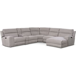 Newport 6-Piece Power Reclining Sectional with Right-Facing Chaise and 1 Recliner - Light Gray