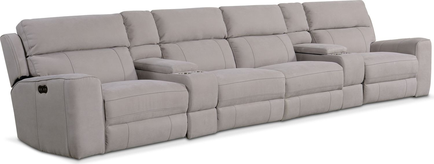 Newport 6-Piece Power Reclining Sectional with 4 Reclining Seats - Light Gray