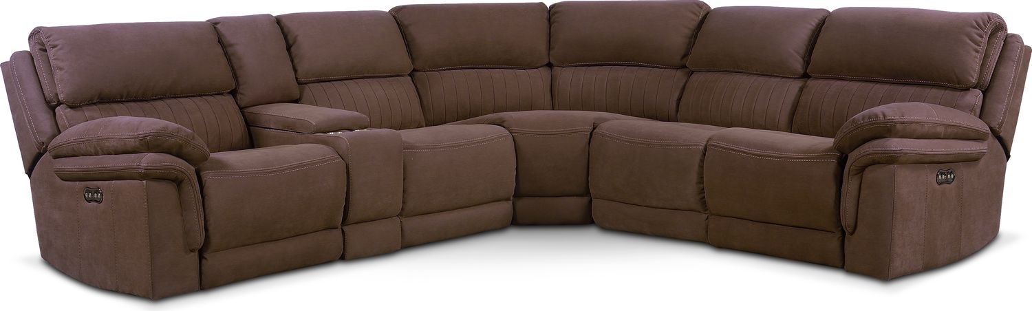 Monterey 6-Piece Power Reclining Sectional with 2 Reclining Seats - Mocha