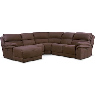 Monterey 5-Piece Power Reclining Sectional with Left-Facing Chaise with 2 Recliners - Mocha