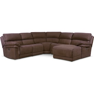Monterey 5-Piece Power Reclining Sectional with Right-Facing Chaise and 2 Recliners - Mocha
