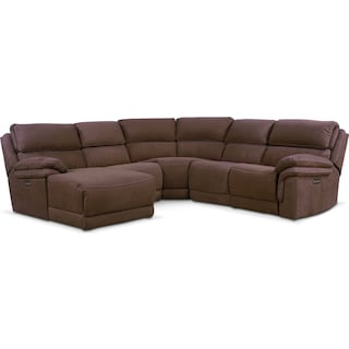 Monterey 5-Piece Power Reclining Sectional with Left-Facing Chaise and 1 Recliner - Mocha
