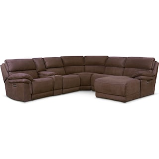 Monterey 6-Piece Power Reclining Sectional with Right-Facing Chaise and 1 Recliner - Mocha