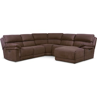 Monterey 5-Piece Power Reclining Sectional with Right-Facing Chaise and 1 Recliner - Mocha