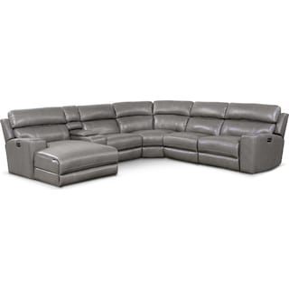 Newport 6-Piece Power Reclining Sectional with Left-Facing Chaise and 2 Recliners - Gray
