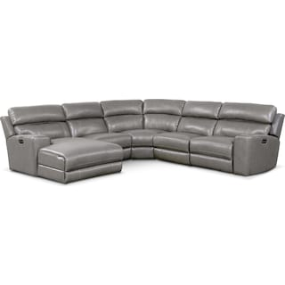 Newport 5-Piece Power Reclining Sectional with Left-Facing Chaise and 2 Recliners - Gray