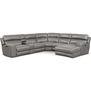 Newport 6-Piece Power Reclining Sectional with Right-Facing Chaise and 2 Recliners - Gray