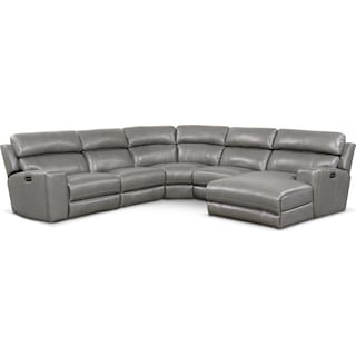 Newport 5-Piece Power Reclining Sectional with Right-Facing Chaise and 2 Recliners - Gray