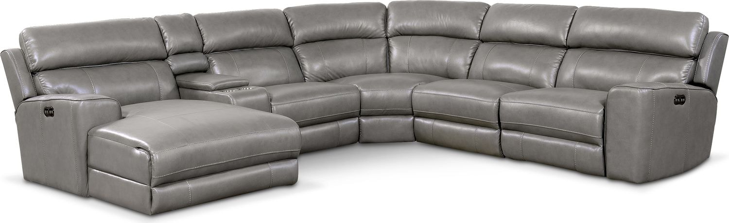 Newport 6-Piece Power Reclining Sectional with Left-Facing Chaise and 1 Recliner - Gray