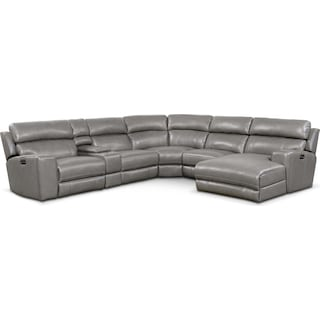 Newport 6-Piece Power Reclining Sectional with Right-Facing Chaise and 1 Recliner - Gray