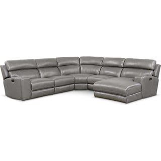 Newport 5-Piece Power Reclining Sectional with Right-Facing Chaise and 1 Recliner - Gray