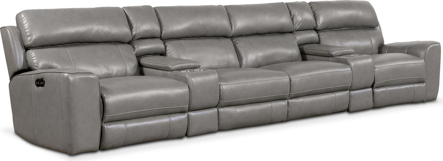 Newport 6-Piece Power Reclining Sectional with 4 Reclining Seats - Gray