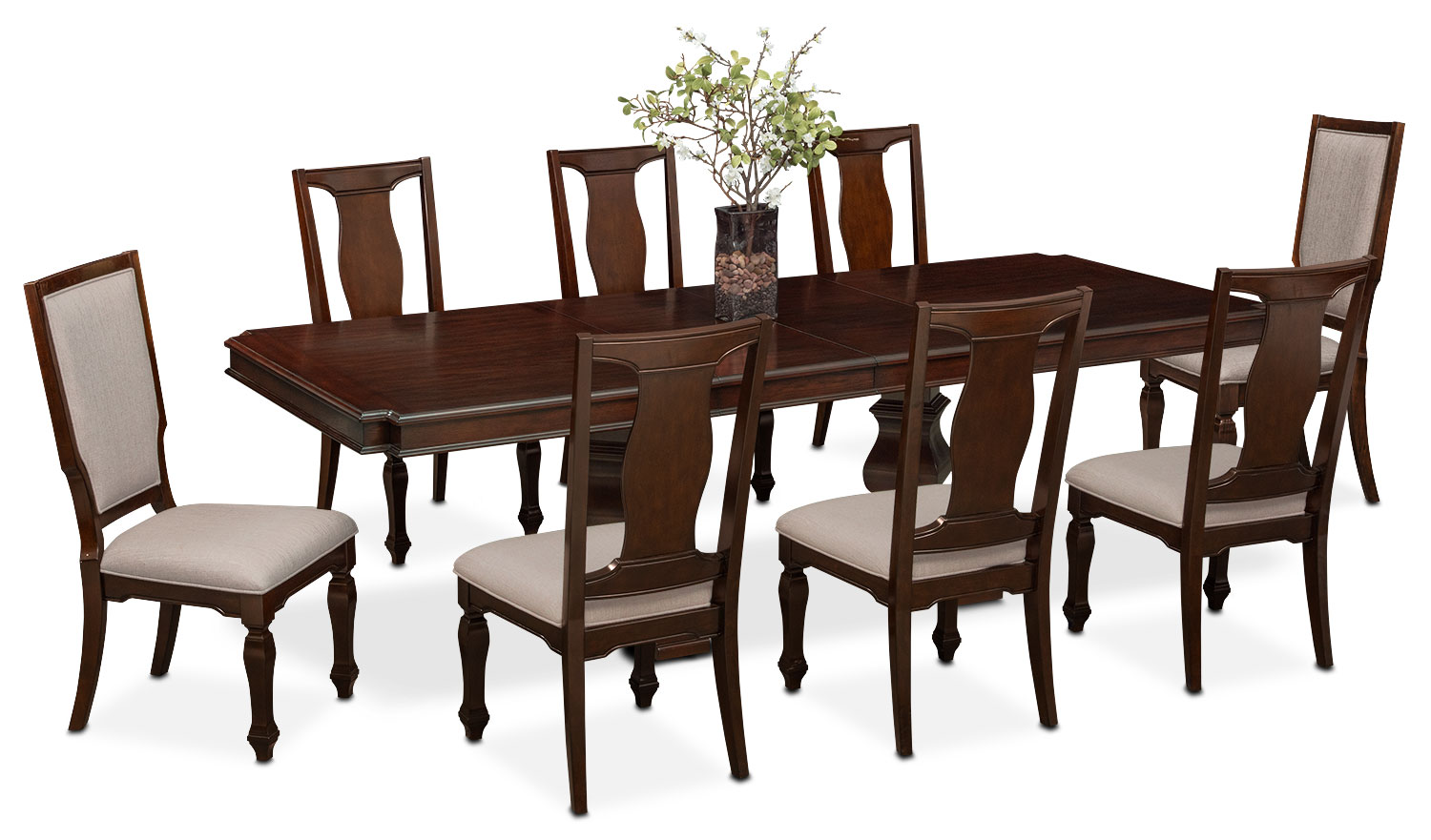 vienna dining table 6 side chairs and 2 upholstered side chairs merlot american signature. Black Bedroom Furniture Sets. Home Design Ideas