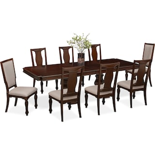 Vienna Dining Table, 6 Side Chairs and 2 Upholstered Side Chairs - Merlot