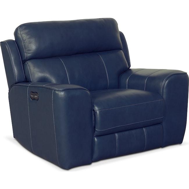 Living Room Furniture - Newport Power Recliner - Blue