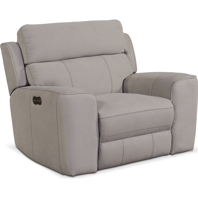 Living Room Furniture - Newport Power Recliner - Light Gray