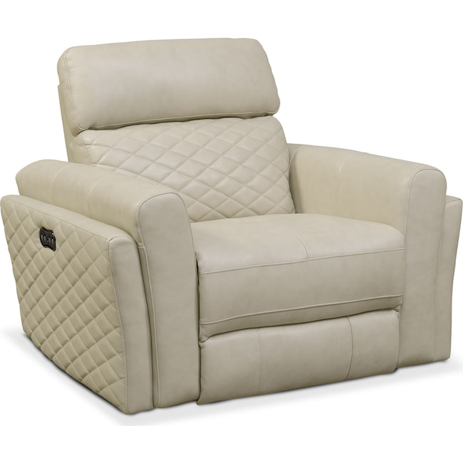 Living Room Furniture - Catalina Power Recliner - Cream