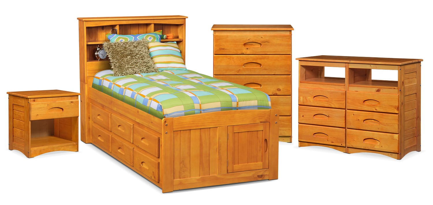 The Ranger Bookcase Bed Collection - Pine | American Signature ...