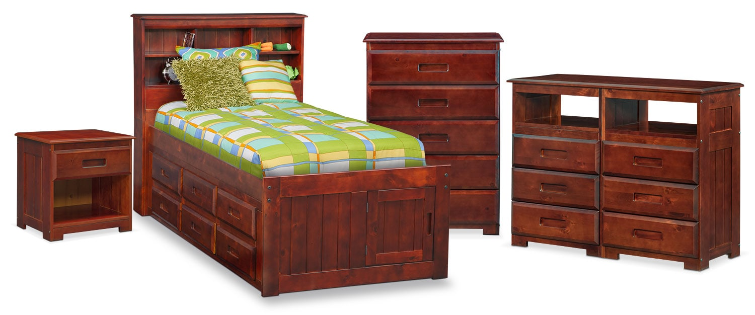 The Ranger Bookcase Bed Collection - Merlot