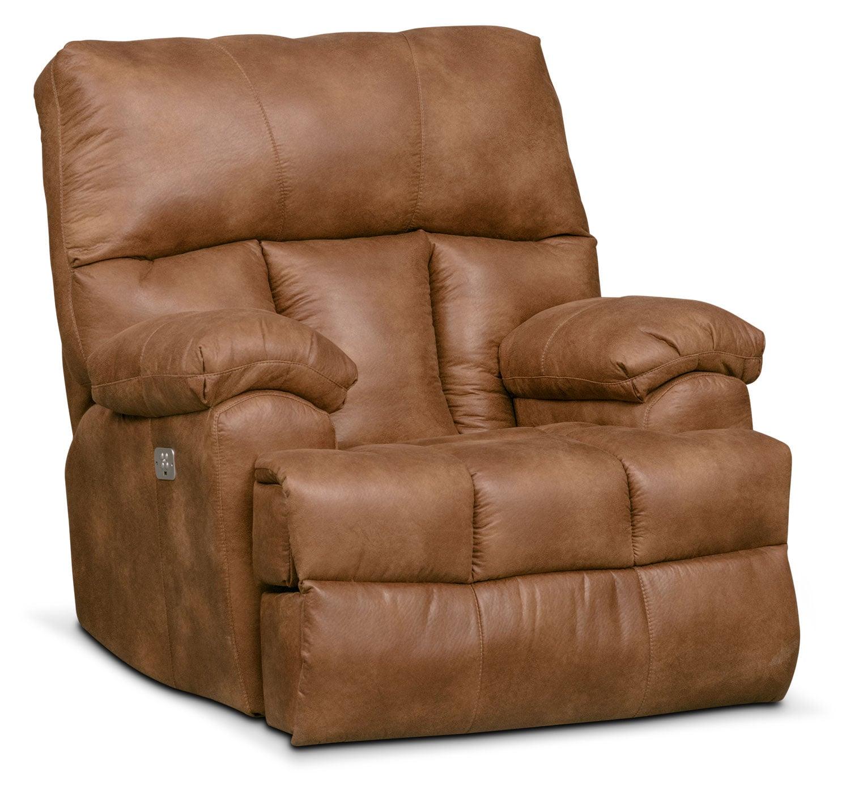 Living Room Furniture - Bronco Dual Power Recliner - Almond