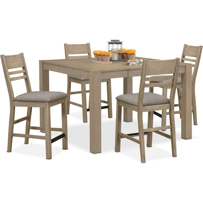 Dining Room Furniture - Tribeca Counter-Height Table and 4 Side Chairs