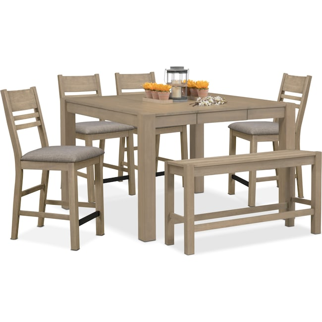 Dining Room Furniture - Tribeca Counter-Height Table, 4 Side Chairs and Bench - Gray