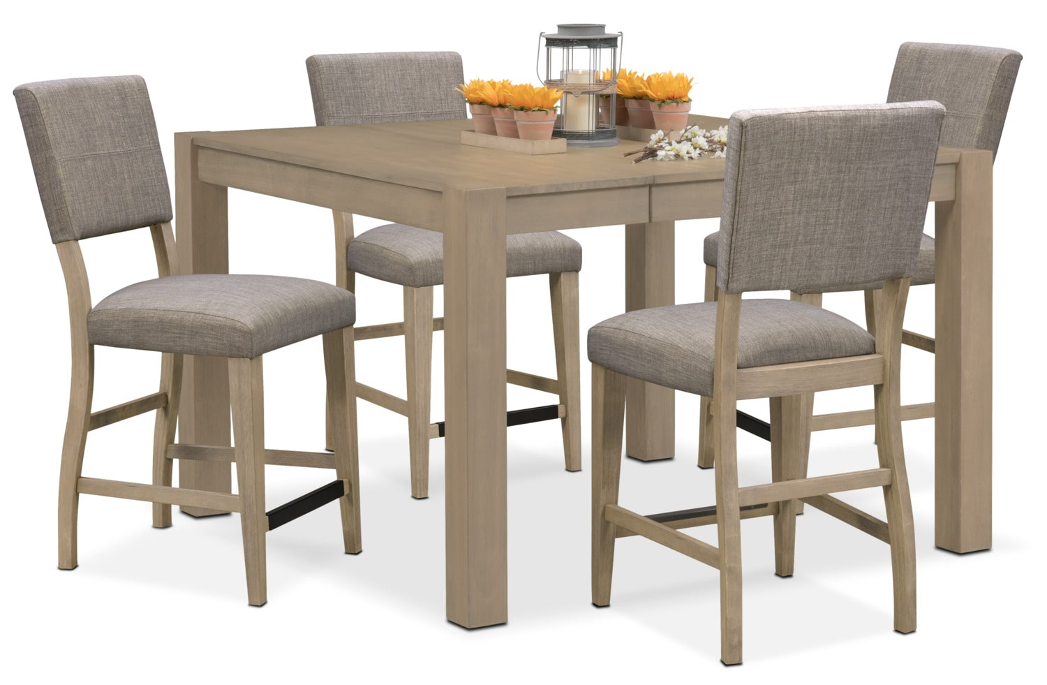 Tribeca counter height table and 4 upholstered side chairs for Dining room table height