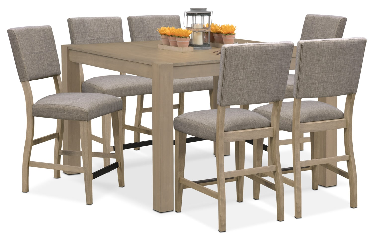 Tribeca Counter-Height Table and 6 Upholstered Side Chairs - Gray