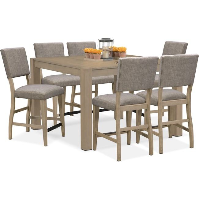 Tribeca counter height table and 6 upholstered side chairs for American furniture dinette sets