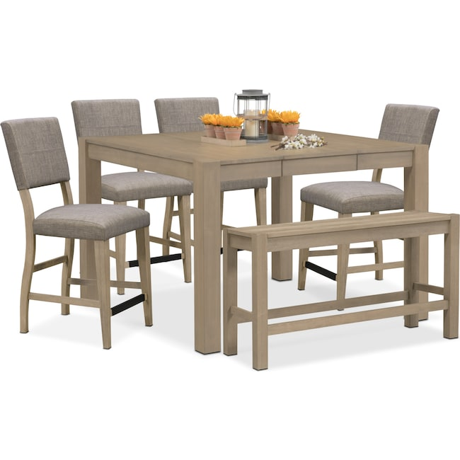 Dining Room Furniture - Tribeca Counter-Height Table, 4 Upholstered Side Chairs and Bench - Gray