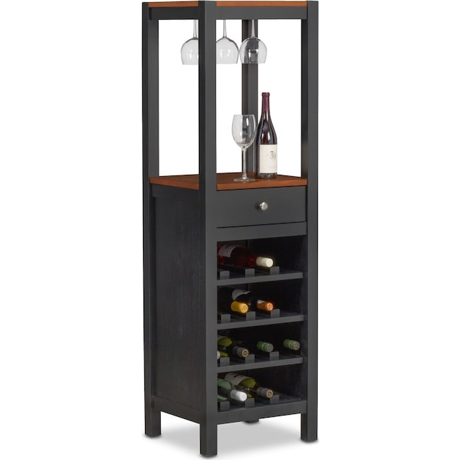 Dining Room Furniture - Nantucket Wine Cabinet - Black and Cherry