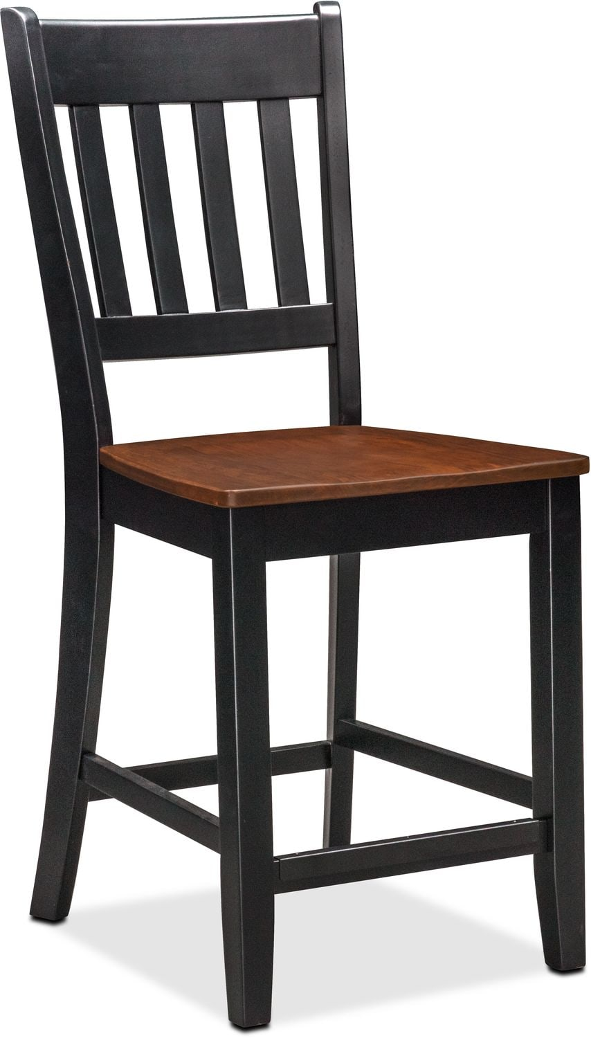 Nantucket Counter Height Table And 4 Slat Back Chairs Black And Cherry Am