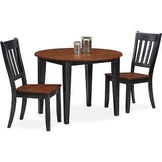 Nantucket Drop-Leaf Table and 2 Slat-Back Chairs - Black and Cherry