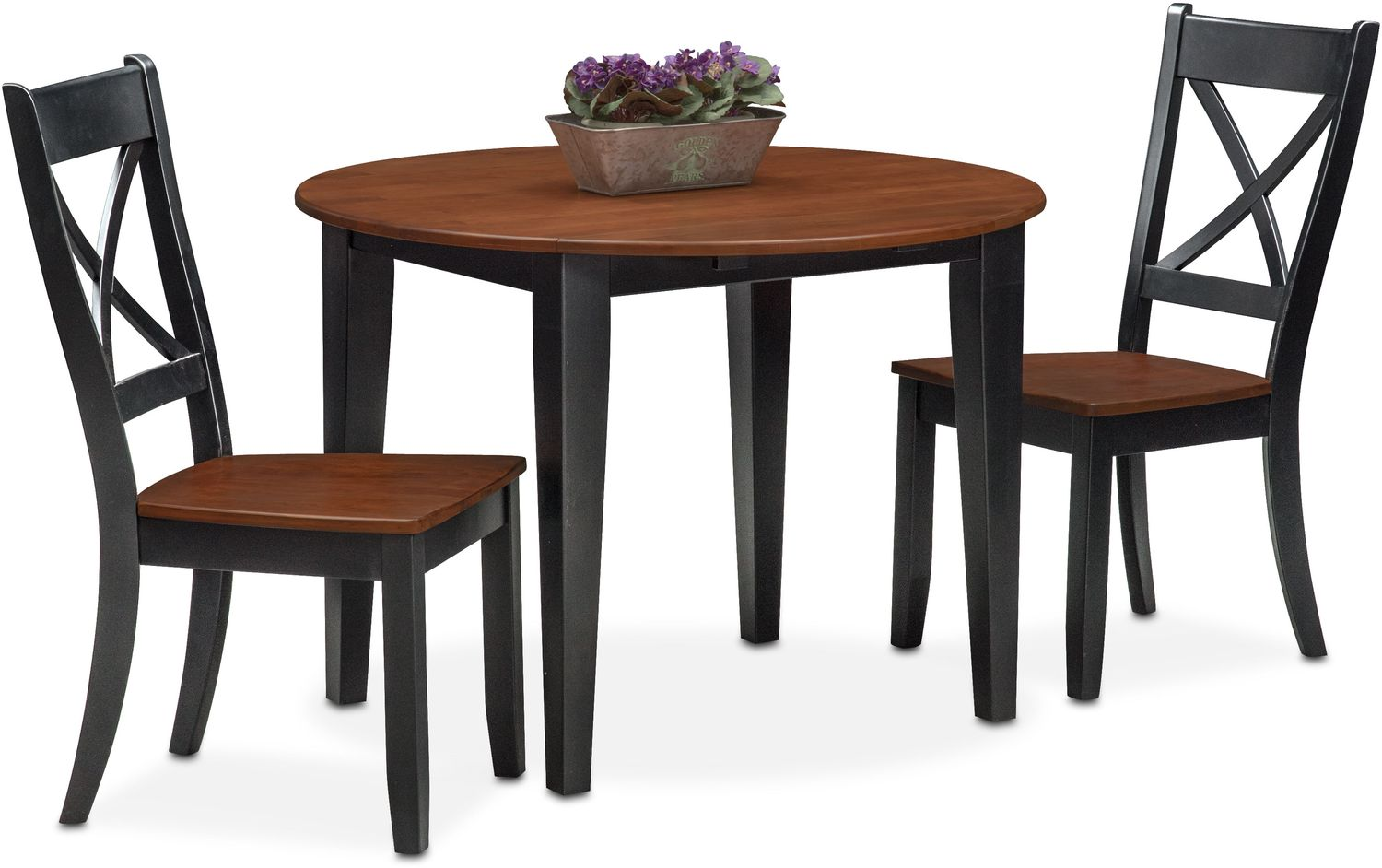 Nantucket drop leaf table and 2 side chairs black and for Black dining table with leaf