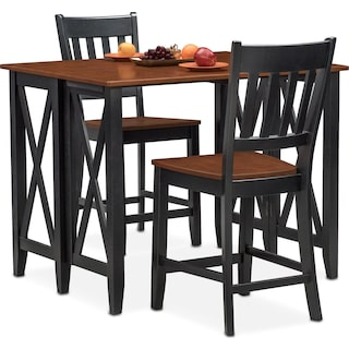 Nantucket Breakfast Bar and 2 Counter-Height Slat-Back Chairs - Black and Cherry