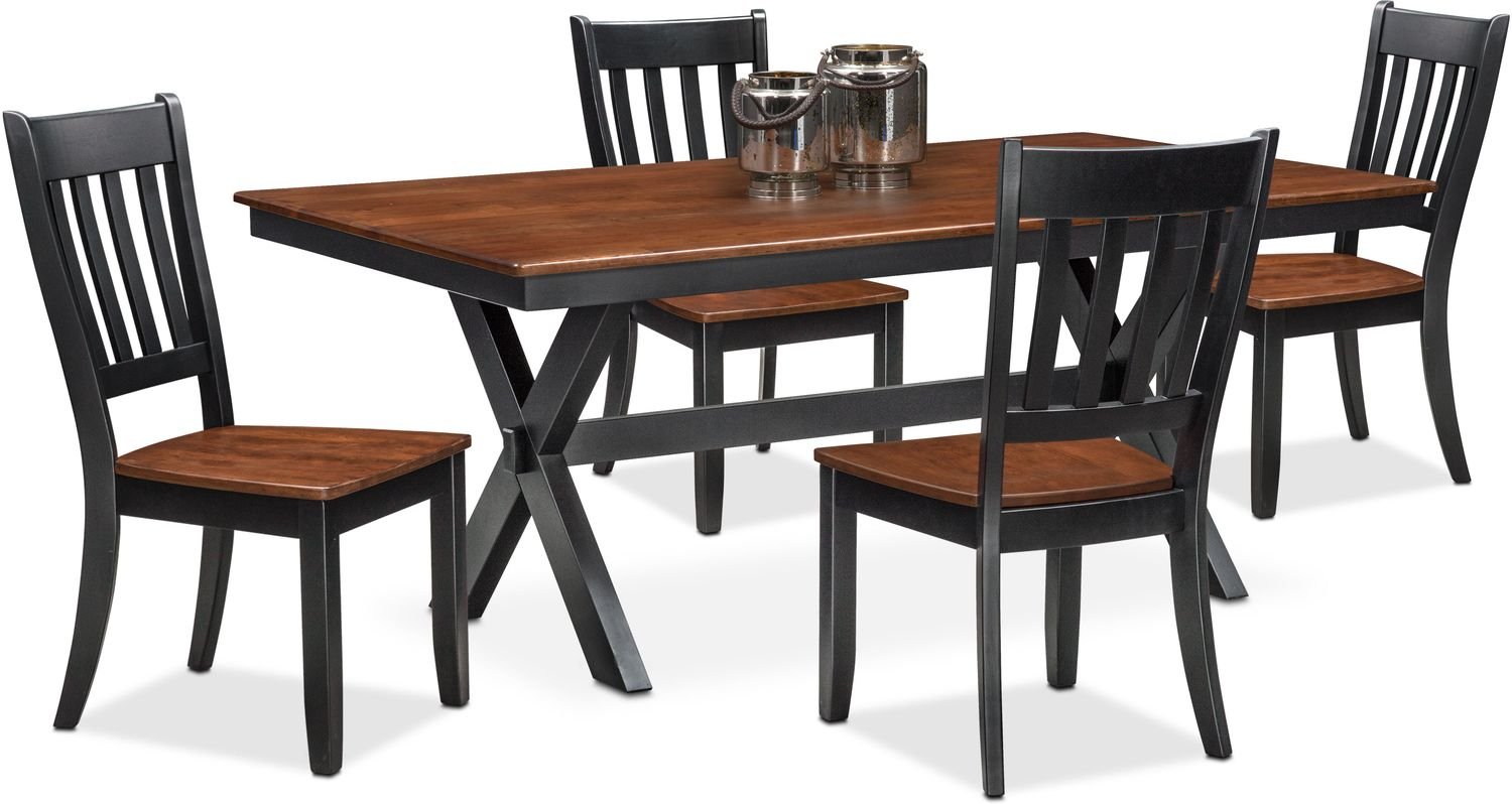 Nantucket Trestle Table and 4 Slat-Back Chairs - Black and Cherry