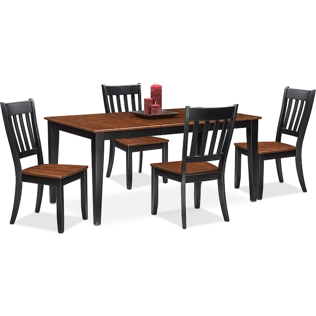 Dining Room Furniture - Nantucket Table and 4 Slat-Back Chairs - Black and Cherry