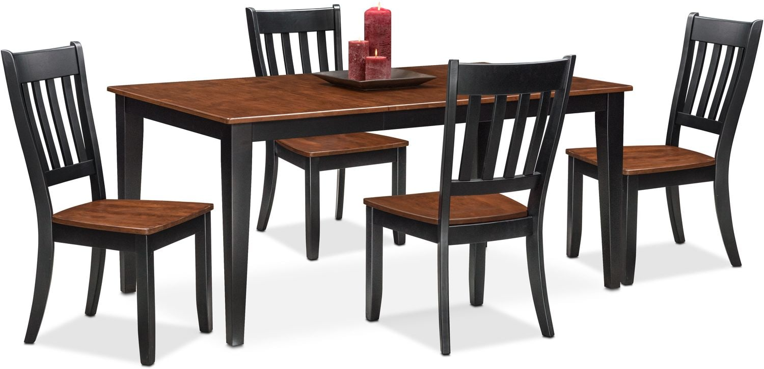 Etonnant Dining Room Furniture   Nantucket Table And 4 Slat Back Chairs   Black And  Cherry