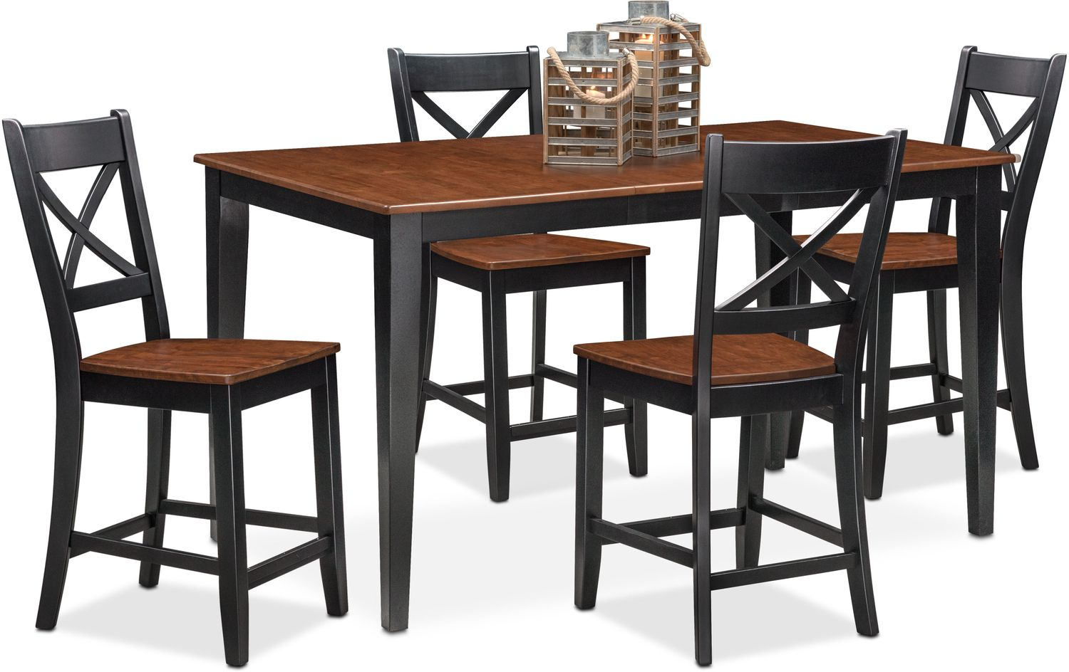 Nantucket counter height table and 4 side chairs black for Dining room tables bench one side