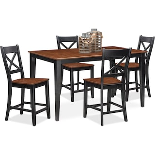 Nantucket Counter-Height Table and 4 Side Chairs - Black and Cherry