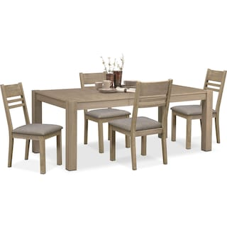 Tribeca Table and 4 Side Chairs - Gray