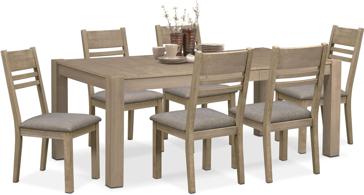 tribeca table and 6 side chairs gray american signature furniture tribeca table and 6 side chairs gray