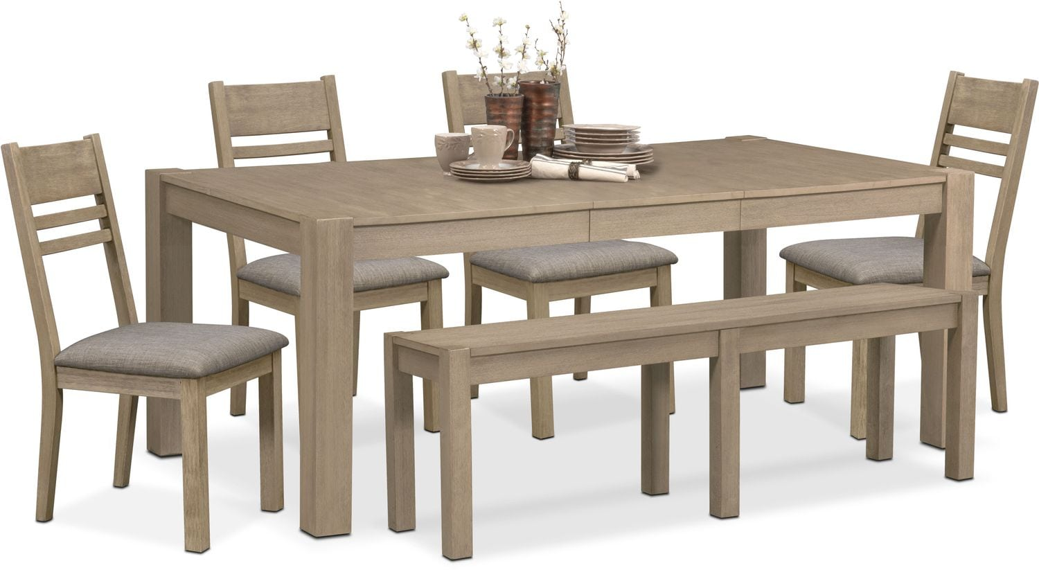 Dining Room Furniture - Tribeca Table, 4 Side Chairs and Bench - Gray
