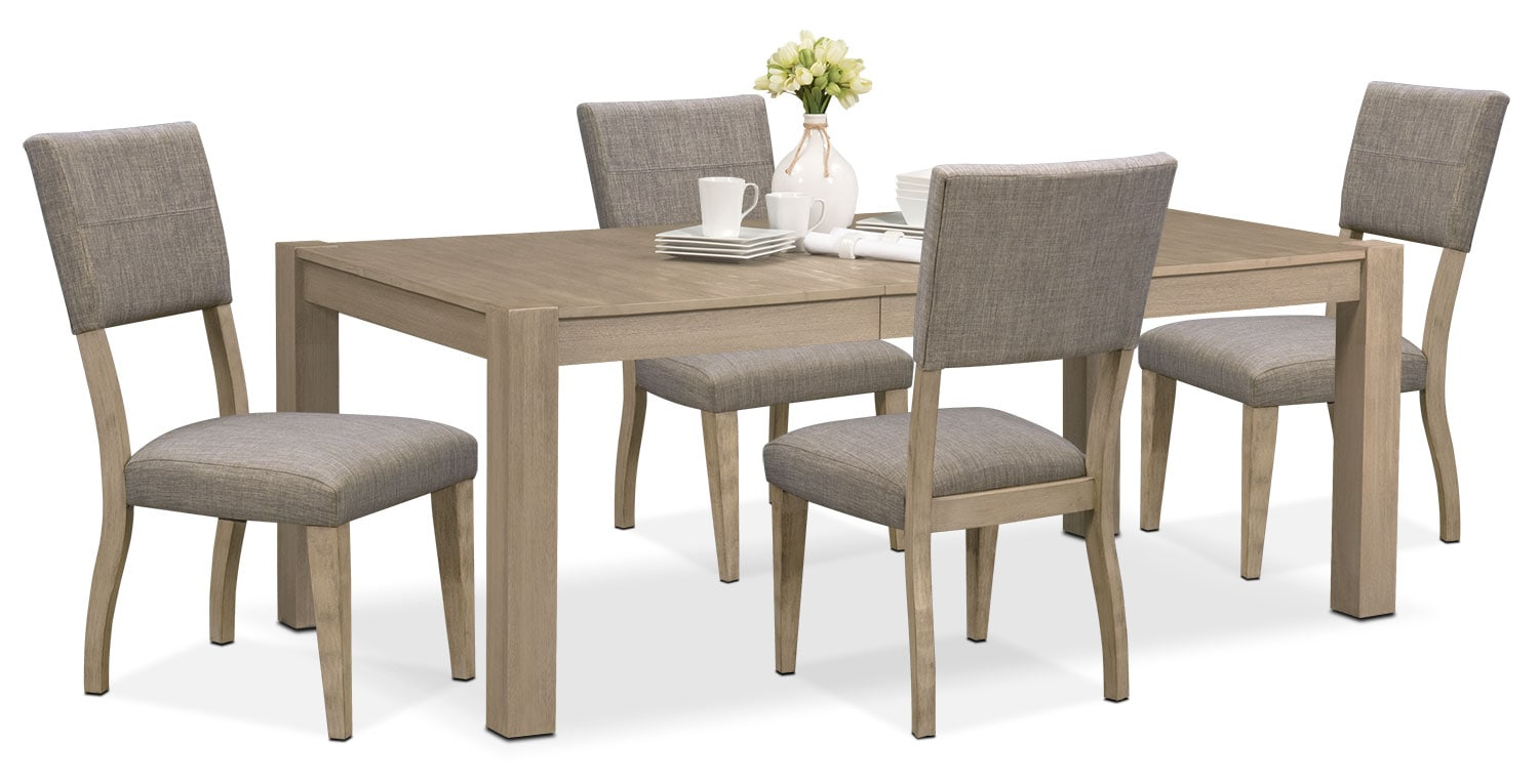 Tribeca Table and 4 Upholstered Side Chairs - Gray