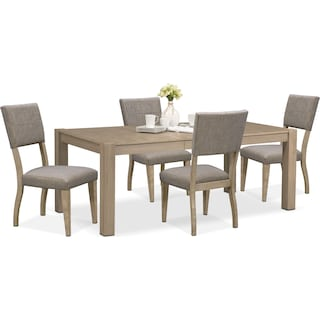 Tribeca Dining Table and 4 Upholstered Dining Chairs - Gray