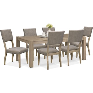 Tribeca Dining Table and 6 Upholstered Dining Chairs - Gray
