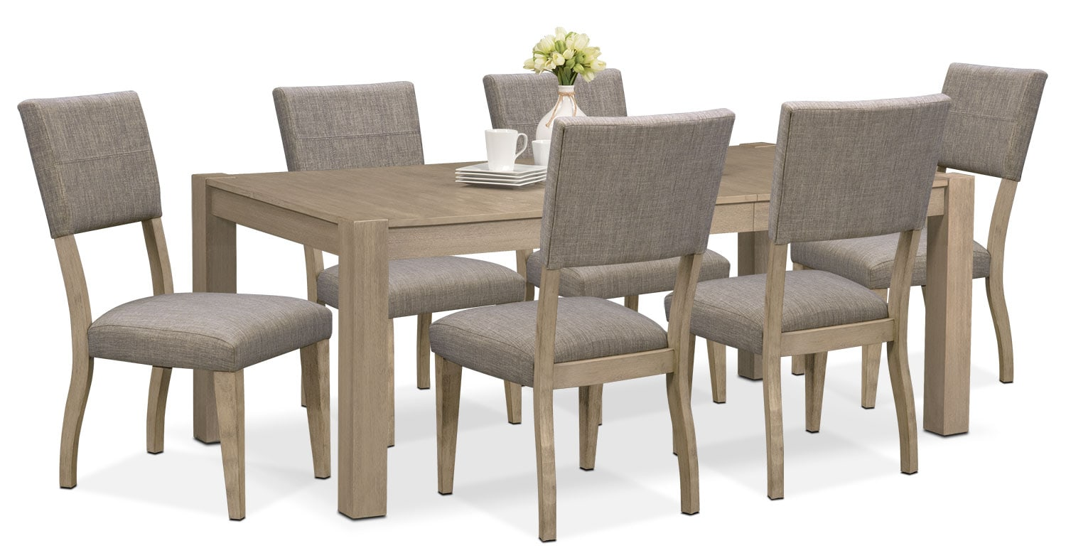 Tribeca Table And 6 Upholstered Side Chairs   Gray